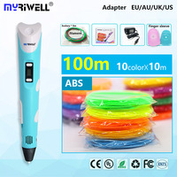 myriwell 3d pen 3d pens,LED display,abs/pla Filament,3 d pen 3d model Smart 3d pen 2018 Best gift of children painting creative