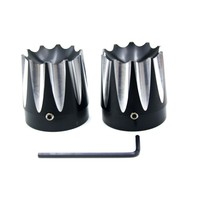 New Motorcycle Black CNC Excalibur Front Axle Nut Covers For 2008 2013 Harley Davidson Touring Models