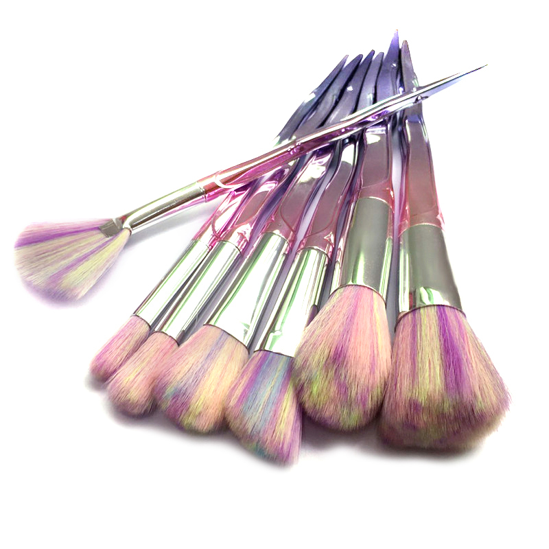 7PCS Pro Makeup Brushes Set Foundation Blending Fan Powder Eyeshadow Contour Concealer Blush Comestic Beauty Make Up Brushes Kit цена и фото
