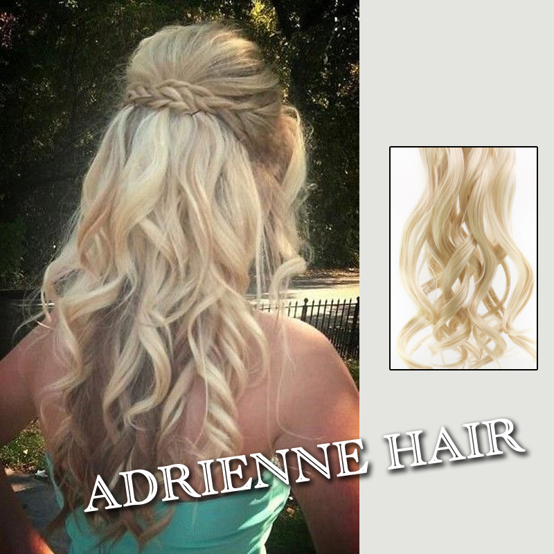 120g 24inch 60cm Synthetic Clip In Hair Extensions Curly Wavy Heat