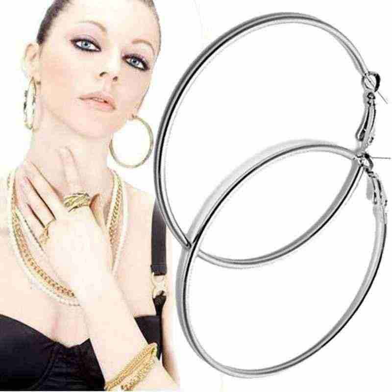 Hot Selling 1Pair Big Smooth big ears ring Clear Circle Round Hoop Charm Earrings Accessories Free Shipping #YL10