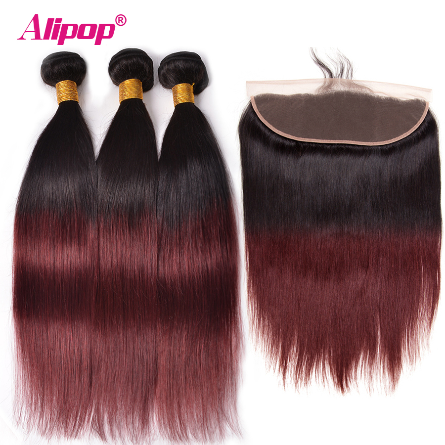 T1B/99J Ombre Wine Red Human Hair Bundles With Frontal Brazilian Straight Hair Weave 13x4 Lace Frontal PreColored Alipop NonRemy