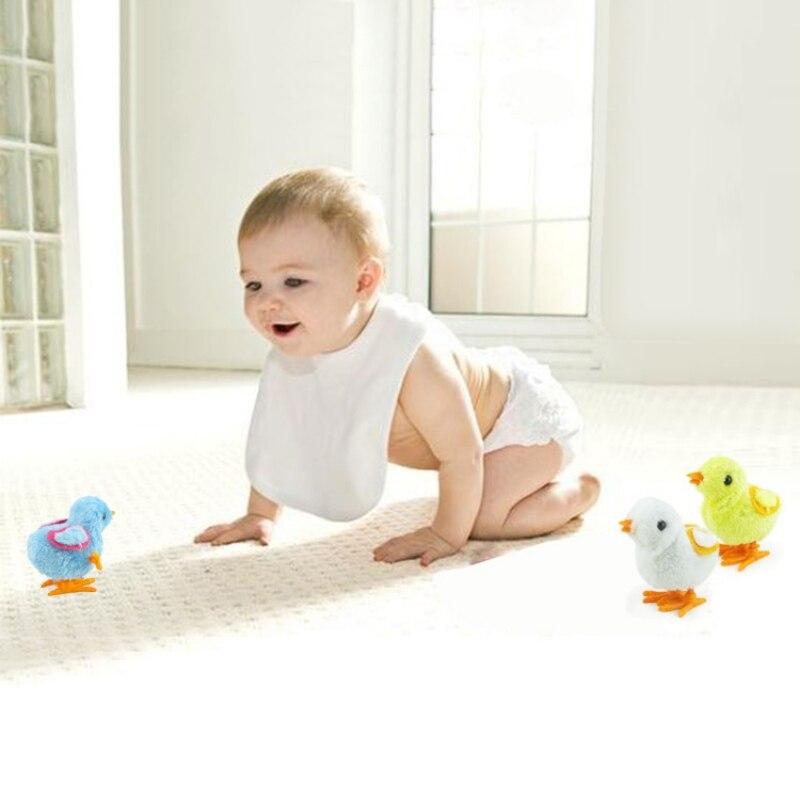 Clockwork Toys 4 color Cartoon Chick Wind Up Cute Kids Plush Wind up Walking Toys Newborn