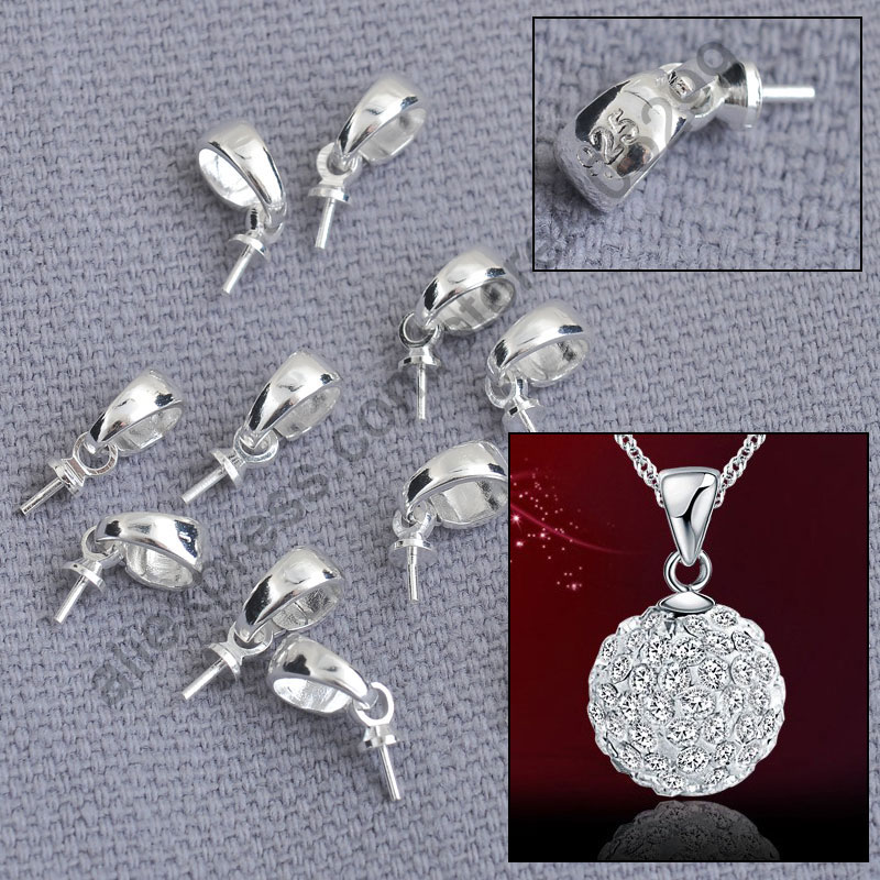 PATICO 925 Jewellery Making Findings Genuine Pure 925 Sterling Silver Cup Cap Bail Connector For Pendant