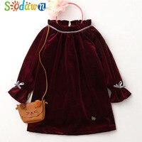 So Dawn New Spring Autumn Fashion Baby Girls Dress Patchwork Velvet Design Princess Dress Children Clothes