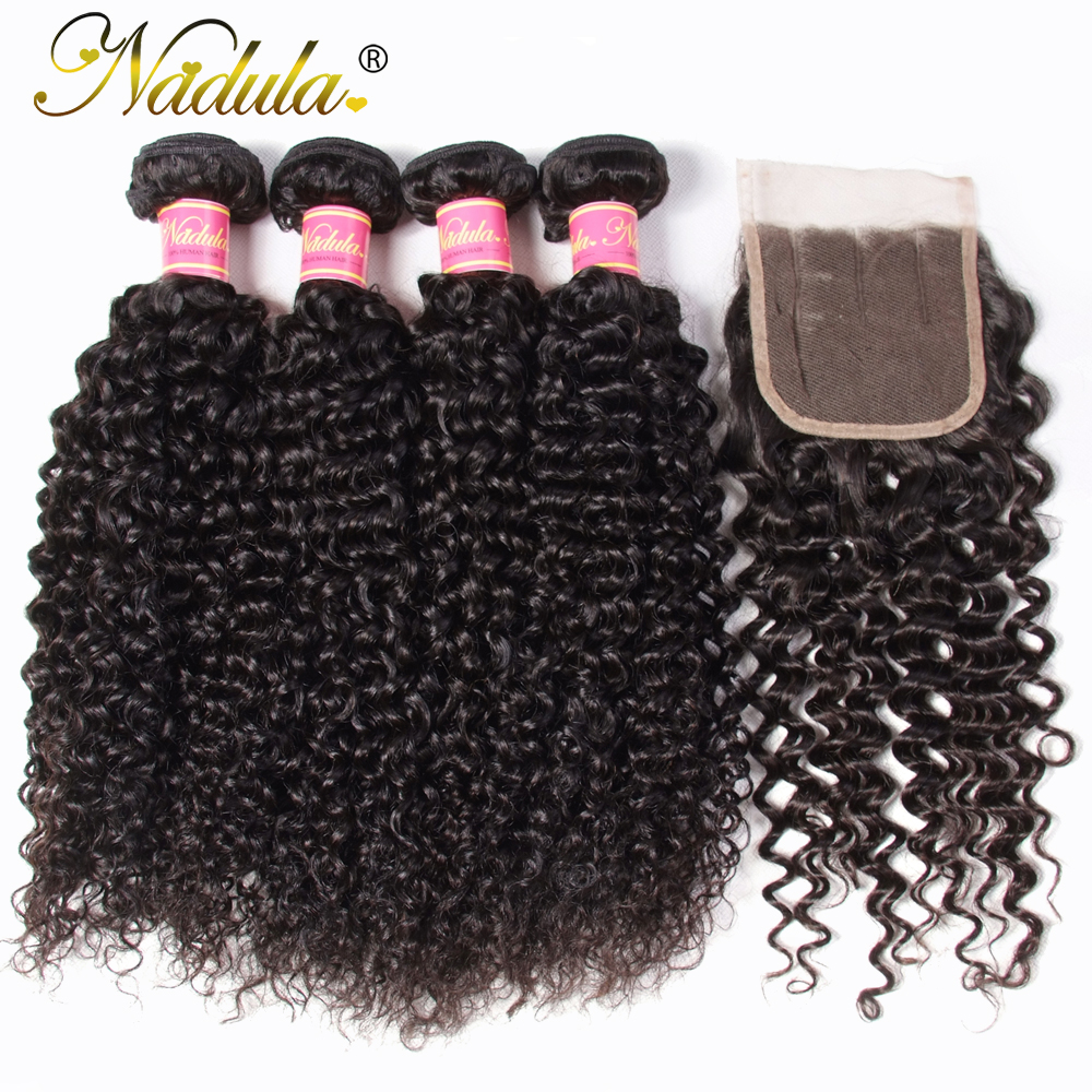 Nadula Hair 4/3 Bundles With Closure  Curly Hair Bundles With 4*4 Lace Closure 100%  Hair s Natural Color 1