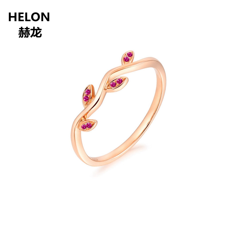 Women Natural Ruby Engagement Wedding Ring Solid 14k Rose Gold Anniversary Band Fine Jewelry Leaves Classic цены онлайн
