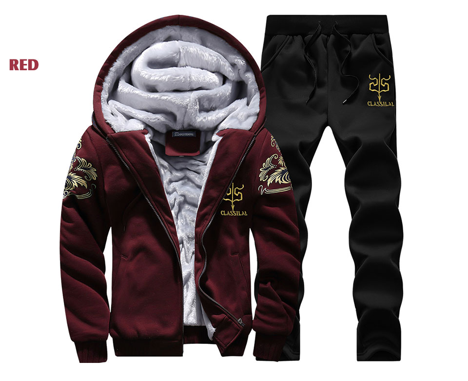 Men's Sportswear Casual Winter Warm Hooded Tracksuit Men Two Piece Sets Suit with Hood 2PC Fleece Thick Jacket + Pants Male 4XL 6