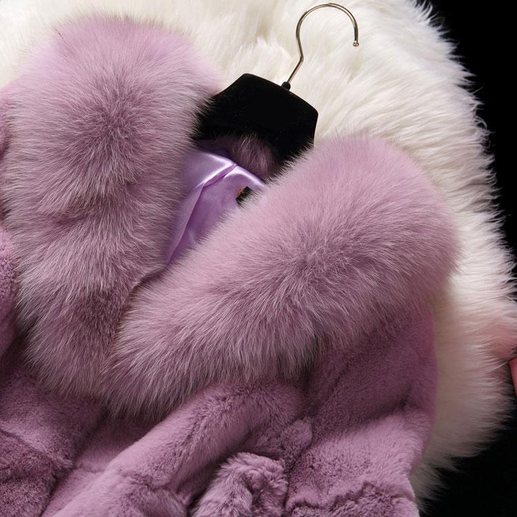 Lâche Lapin black Réel Pardessus Col purple Jupe Trois Manteau Rex White Nature red Style Trimestre Véritable Veste gray Manches D'hiver Renard Fourrure Cream Femmes De 100 pOxIqw44