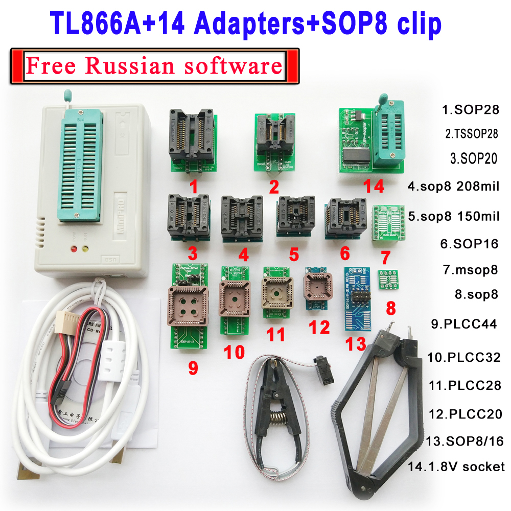 TL866A programmer 14adapters font b IC b font Clip clamp High speed TL866 AVR PIC Bios