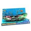 Air Action Aquarium Sea Shipwreck Caribbean Ship Ornaments Fish Tank Aquarium Decoration Landscape Red+Green