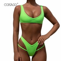 COKAGO Sexy Neon Brazilian Thong Bikini 2019 Push Up Woman Padded Hollow Out Solid Micro Two Piece Swimsuit Bathing Suit Women
