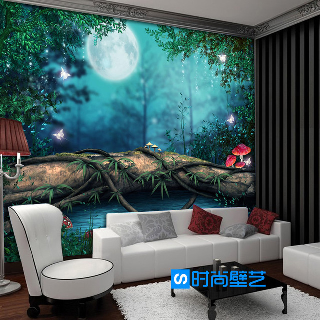 Photo Wallpaper Magic Moonlight Jungle Natural Scenery Children Room Bedroom Restaurant Hotel Mural