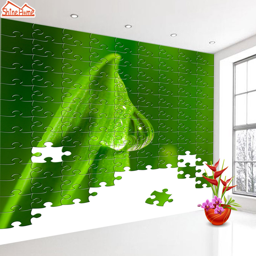 ShineHome-Green Leaf Life Block Puzzle Nature Wallpaper for 3d Kids Walls Wallpapers for 3 d  Living Room Home Wall Paper Murals shinehome nature banana leaf wallpaper 3d photo wallpaper rolls for walls 3 d livingroom wallpapers mural roll paper background