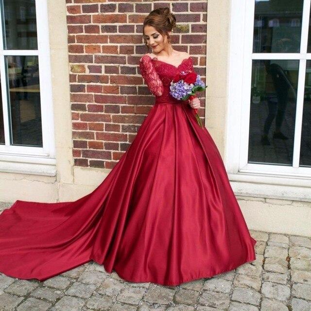 Unique Plus Size Long Sleeve Prom Dresses V Neck Sweep Train