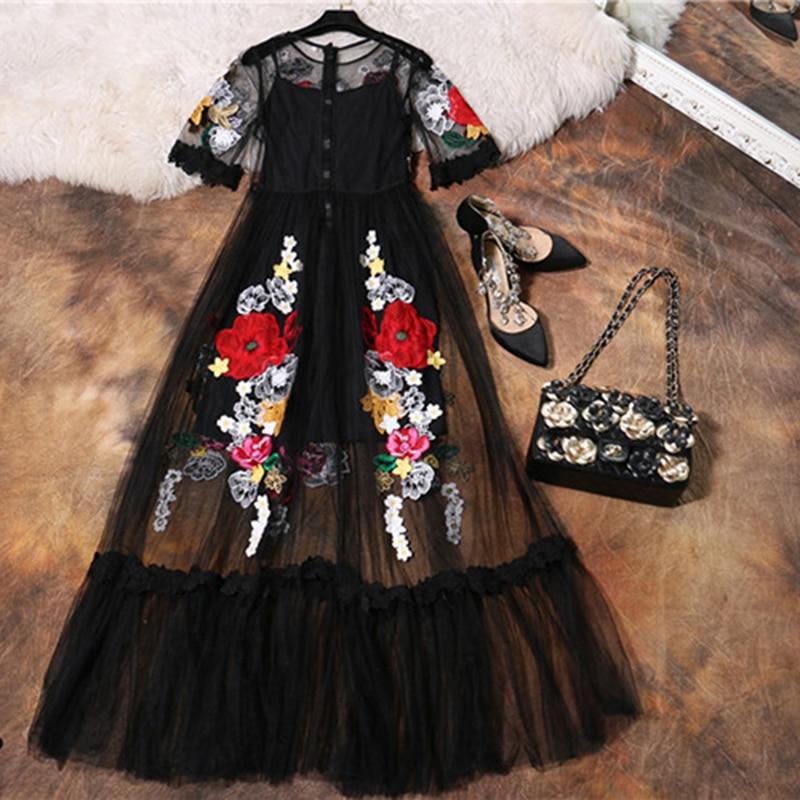 Luxury Dress New 2018 Summer Fashion Designer New Elegant Flower Embroidery Appliques Black Mesh Slim Women Vintage Long Dress Fashion Long Dress Long Dressvintage Long Dress Aliexpress