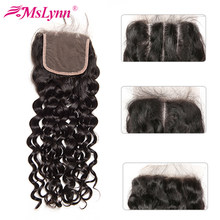 Water Wave Lace Closure 4x4 Closure Brazilian Hair Human Hair With Baby Hair Mslynn Remy Hair Bundles Natural Black(China)
