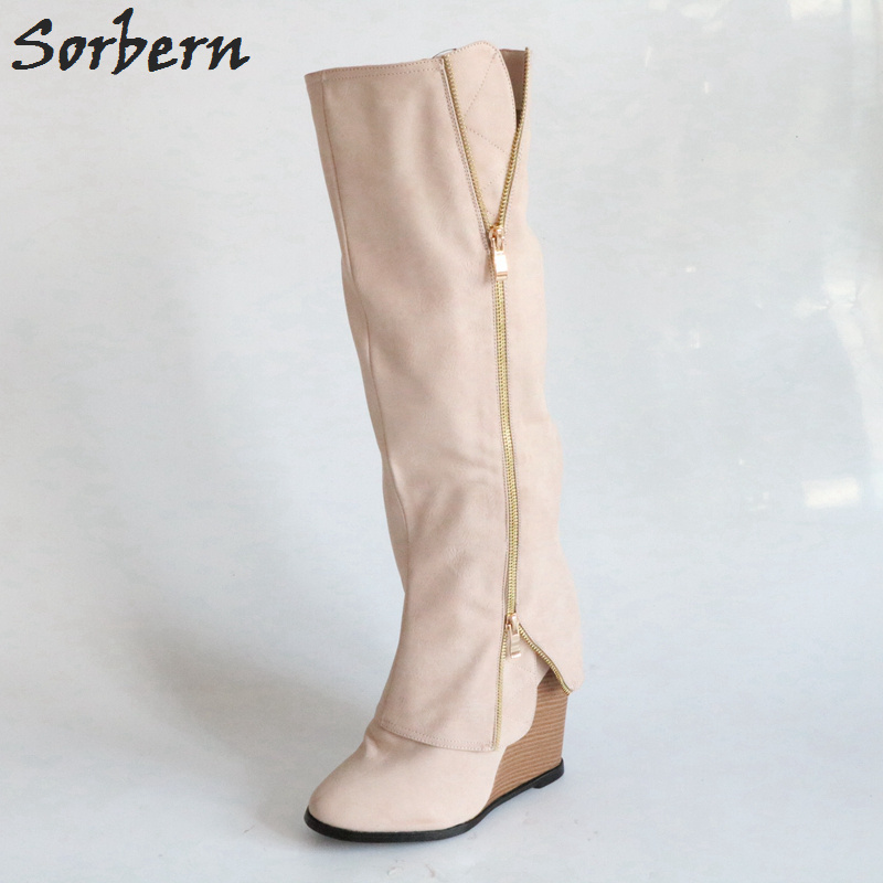 Sorbern knee high wedge high heel boots women round toe designer boots custom color womens booties shoes winter women sorbern white platform shoes knee high boots for women wedge high heel ladies shoes booties womens shoes custom colors big size