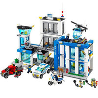 New 1 Set City Police Station Motorbike Helicopter Model Building Kits Compatible With 60047 Blocks Educational
