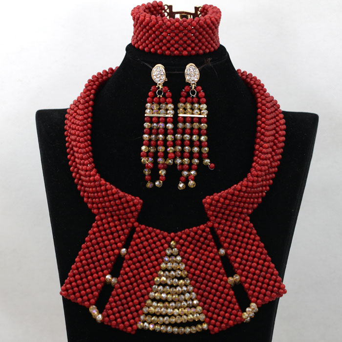 Gorgeous Wine Red Dubai Bridal Beads Chunky Jewelry Set Indian Wedding African Coral Beads Necklace Jewelry Free Shipping QW200