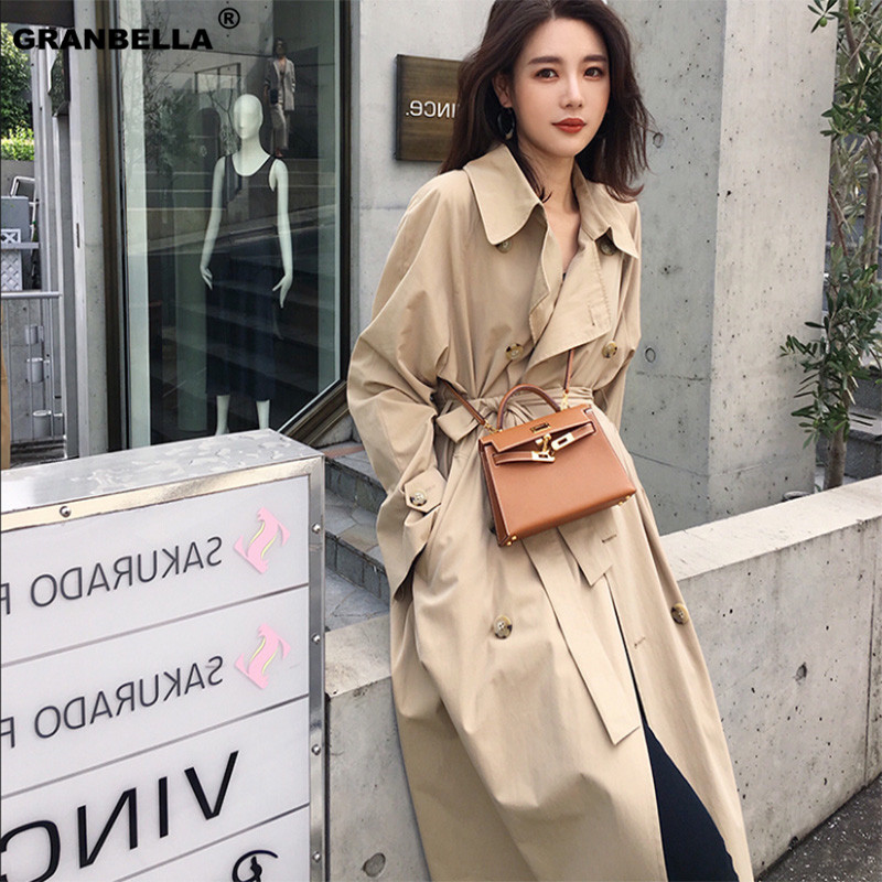 new spring autumn fashion Casual women's khaki   Trench   Coat long Outerwear loose clothes office lady windbreaker with belt