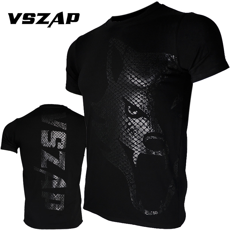VSZAP Boxing MMA T Shirt Dark Wolf Jerseys Gym Tee Fighting Martial Arts Fitness Training Muay Thai Men