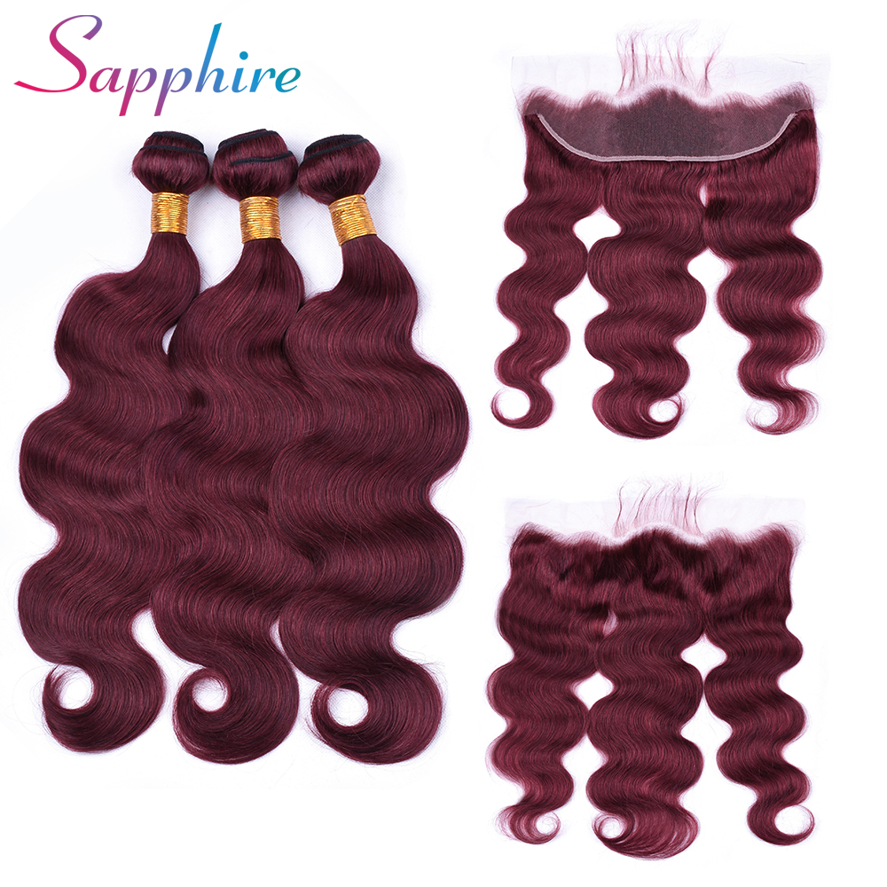 Sapphire Hair 13x4 Lace Frontal Closure With Bundles Brazilian Body Wave Human Hair Bundles With Lace Closure Remy Hair Dark Red