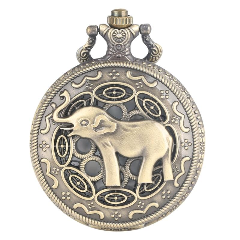 3D Cute Long Nose Elephant Figure Retro Bronze Hollow Necklace Quartz Pocket Watch Fashion Pendant Watches For Men Women Kids