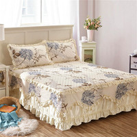 Famvotar Fancy Cotton Quilted Lace Bedskirt 23 Styles Floral Ruffled Bed Skirt Pastoral Cotton Quilted Lace Bedspread Drop Ship