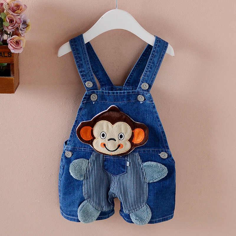 ec2944faa90f BibiCola Fashion Style Baby Boys Jumpsuit Summer Jeans Denim Romper Cartoon  monkey Short Pants Cowboy Blue