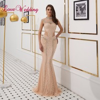 New Arrival Vintage Style Heavy Major Beaded Evening Dresses Long Cap Sleeves Champagne Mermaid Dress Evening Party Gown