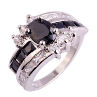 lingmei Fashion Brand New Lady Black Spinel & White Topaz Silver Ring Size 7 8 9 10 Women Party Jewelry Free Shipping Wholesale