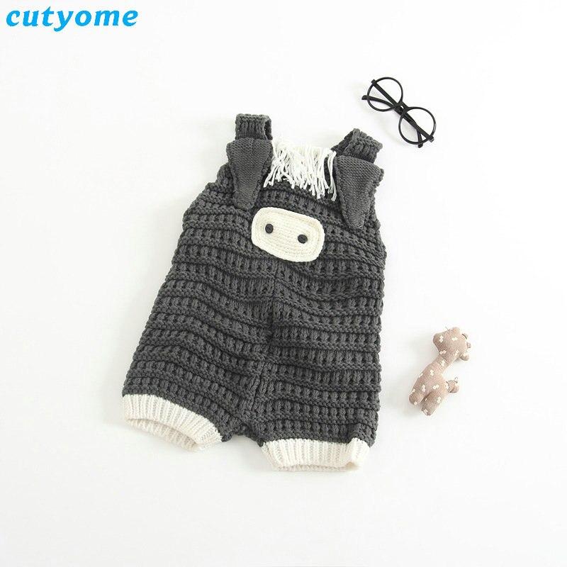 Bebé recién nacido algodón Mamelucos crochet trajes cerdo Monos ropa ...