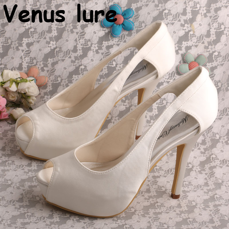 Stiletto Bridal 4.8 High Heels Wedding Shoes for Bride Peep Toe Women Pumps Off-white elegantpark wp1564 women wedges peep toe mid heels rhinestones wedding pumps bridal shoes