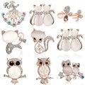 RINHOO милые животные Кошка Сова Бабочка Брошь для женщин Европейская и американская мода свадебные ювелирные изделия камни Хрустальная брош...