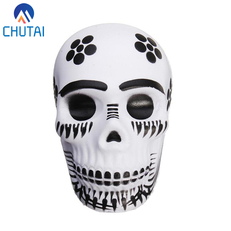 2019 New Squishy Slow Rising Stress Relief Wreak Toy PU Halloween Exquisite Fun Galaxy Skull Scented Squishy Toys 9*5.5CM