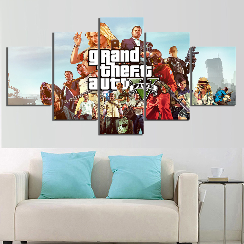 5 Piece Game Poster Grand Theft Auto V Pictures Canvas Paintings GTA 5 Poster HD Wall Pictures Artwork Canvas Paintings 2