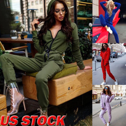 Women Long Sleeve Cotton Thin Zipper Hooded Jumsuit Rompers Casual Jumpsuit Tracksuit  for Ladies Female