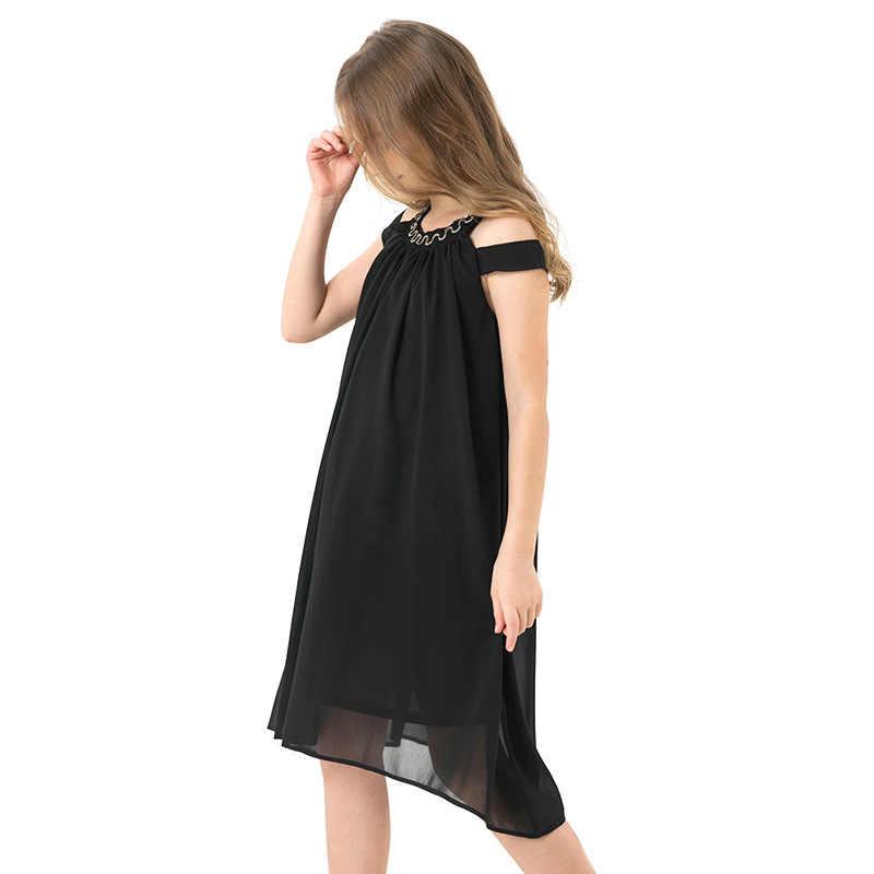 Del bambino Vestiti Dalla Ragazza di Estate Chiffon Nero Slittamento Vestito Da Partito Delle Ragazze Scherza I Vestiti Dei Bambini del Vestito di Usura Della Spiaggia di Casual 8 10 12 14 anni