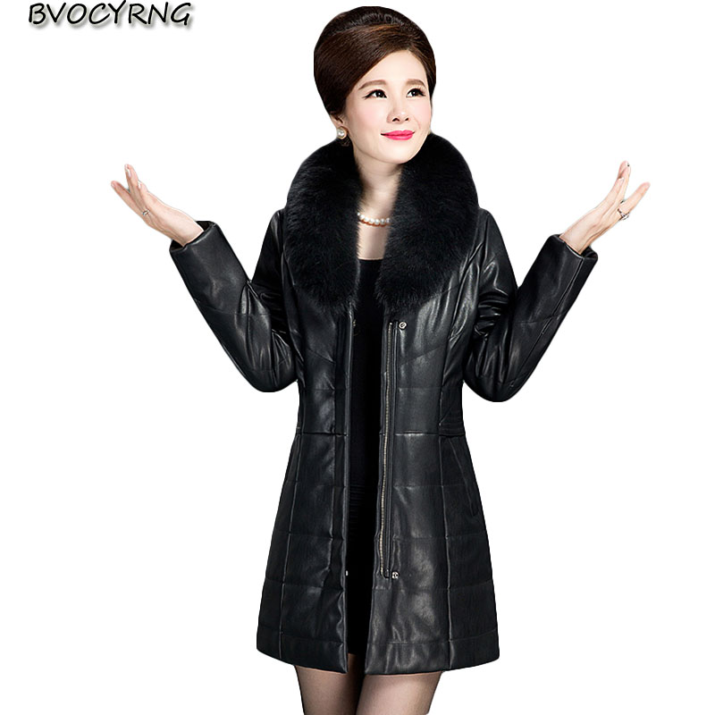 0402e2e29468 Middle-aged Women's Leather Jacket Autumn Female Coat Winter Thicken Warm  Pu Leather Jacket For Women Plus Size Clothing A0295