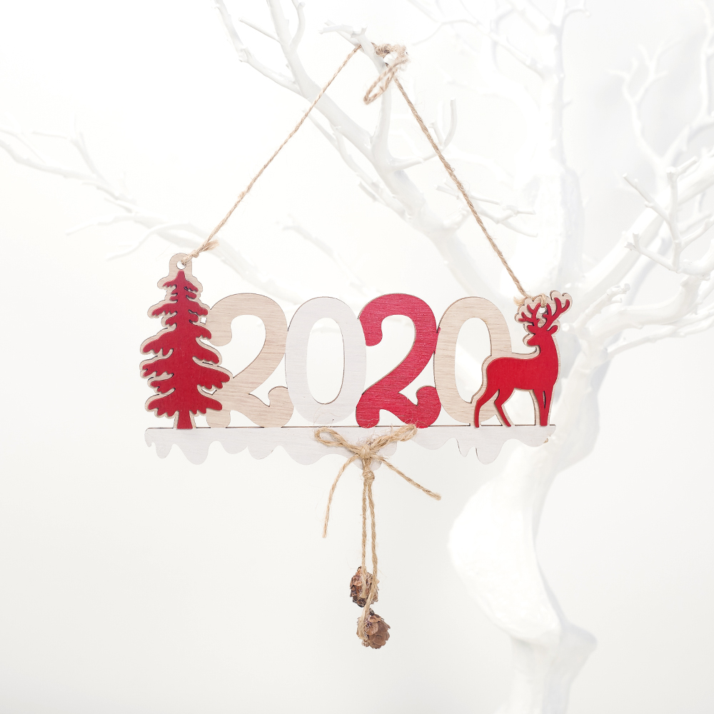 Cute Cartoon Smile Elk Wooden Ornament Christmas Tree Decoration Hanging Pendant Xmas Party Decor for Home Kids Gift Animal 2020 51