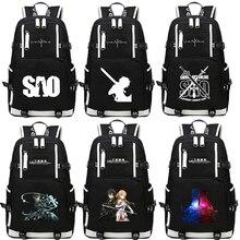 85f3c9513452c Anime Sword Art Online SAO Sırt Çantası Karikatür Okul Seyahat gençler için  çanta Naylon Mochila Escolar Sırt Çantası omuz çanta.