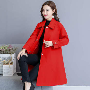 Woolen Coat Women Autumn Winter Cloak Style Long Wool Coat Plus Size Warm Parka Overcoat Blue Red Women Coat Abrigos Mujer C4839