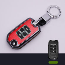 Plastic Luminous 3 Buttons Leather Car Key Cover Cases For Honda Civic X-RV Jazz Greiz Crdder Flip Key Keychain Fob Cases(China)