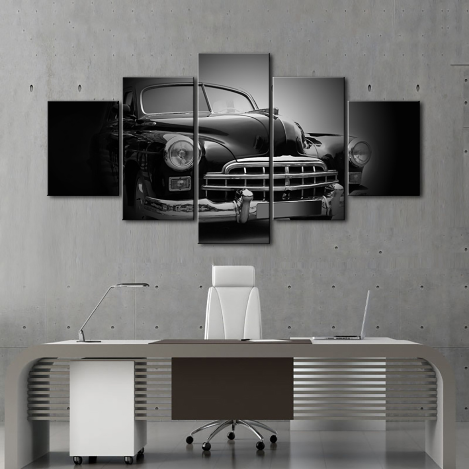 HD Printed Modern Painting Wall Art Home 5 Panel Black Car Modular Picture Decoration Posters Framework Living Room On Canvas
