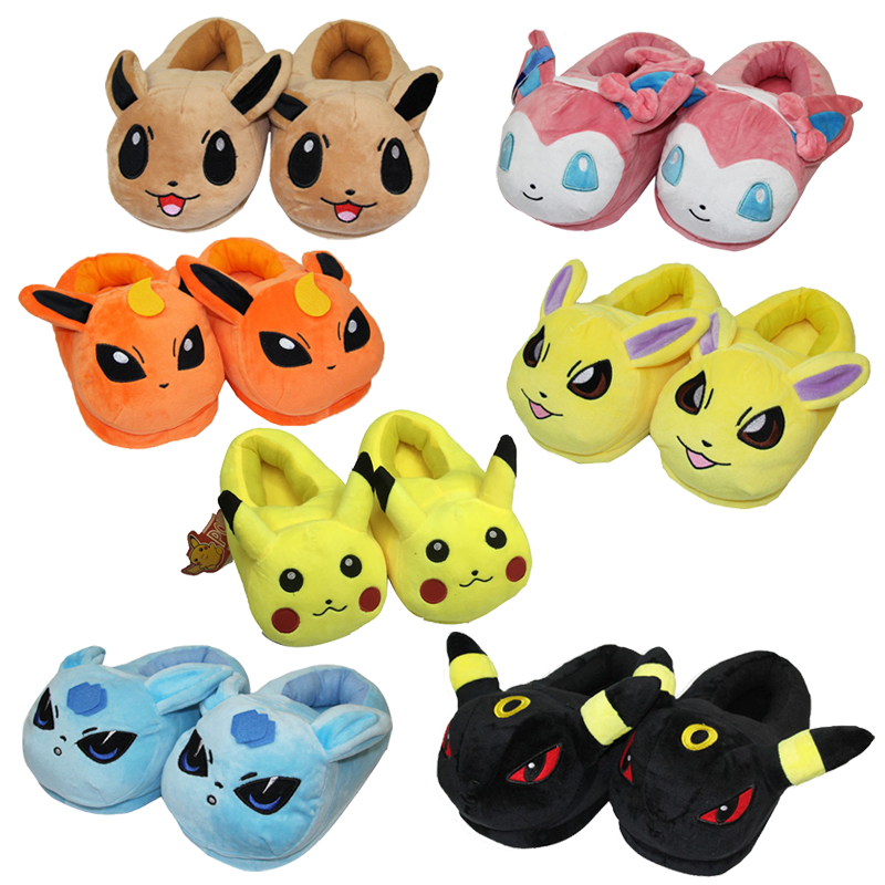 Cartoon plush toys Pikachu Eevee plush shoes Cute indoor fluffy slippers soft stuffed winter plush adut slippers shoes 5pcs lot pikachu plush toys 14cm pokemon go pikachu plush toy doll soft stuffed animals toys brinquedos gifts for kids children