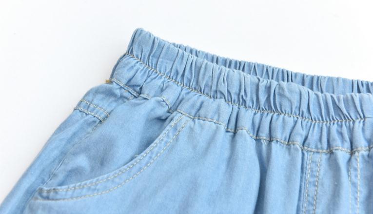 Light Blue Deep Blue Kawaii Bunny Embroidery Jeans Pants Women Summer Casual Straight Pants With Pockets Fashion Ninth Pants11