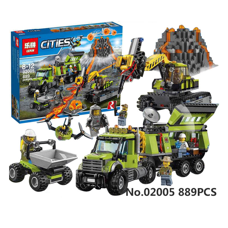 889Pcs LEPIN 02005 City series Volcanic expedition base  Model Building blocks Bricks Compatible 60124 Toy for Gift lepin 02005 volcano exploration base building bricks toys for children game model car gift compatible with decool 60124