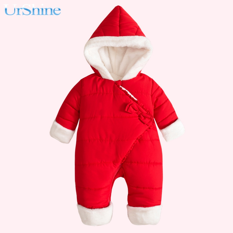 Baby Winter Rompers Warm Newborn Jumpsuit Baby Overalls Baby Boy Girl Hooded Cotton Padded Thick Outwear Kids Climb Clothes