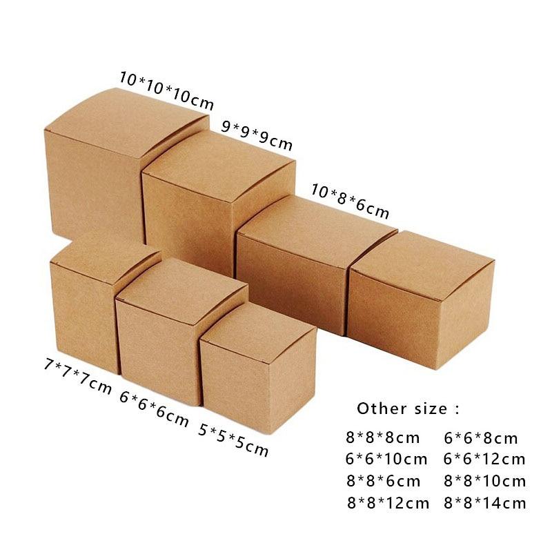 50pcs  Lot Square Kraft Paper Box Black Kraft Box White